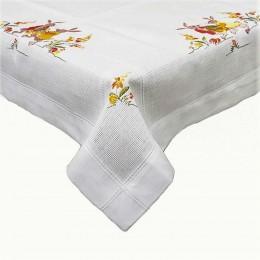 Serweta obrus na stół wielkanocny kwadratowy 85x85 biały ZAJĄCE JAJKA