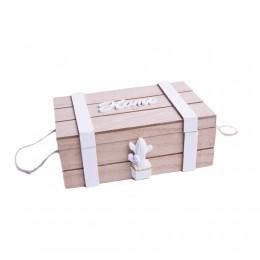 Pudełko drewniane szkatułka skrzynka kasetka BIAŁY KAKTUS