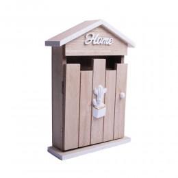 Szafka domek szkrzyneczka na klucze drewniana BIAŁY KAKTUS