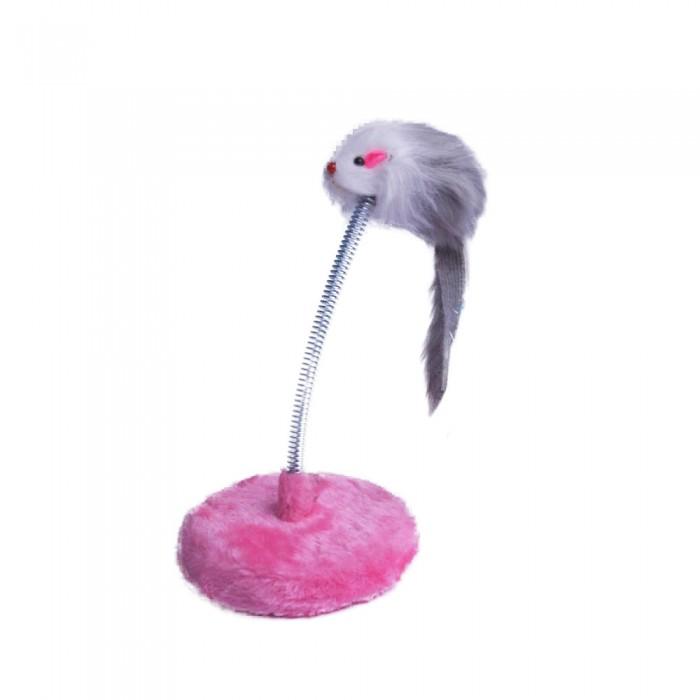 Interaktywna zabawka dla kota myszka mysz futrzana na sprężynie