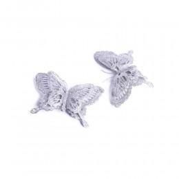 Dekoracja motyl ozdobny z klipsem srebrny 15 cm brokat ażur