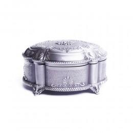 Szkatułka na biżuterię srebrna platerowana puzderko metalowe