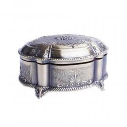 Szkatułka na biżuterię mosiężna platerowana puzderko metalowe