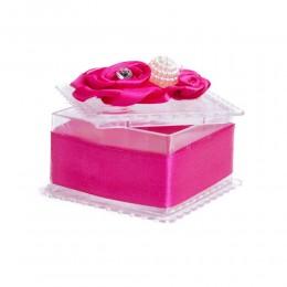 Różowe ozdobne pudełeczko na biżuterię pierścionek kolczyki wisiorek