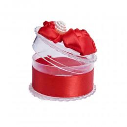 Czerwone ozdobne pudełeczko na biżuterię pierścionek kolczyki wisiorek
