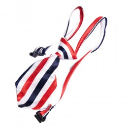Regulowany krawat dla psa kota królika W PASECZKI CZERWONO GRANATOWE