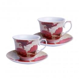 Zestaw filiżanek do kawy i herbaty dla dwojga CZERWONE MAKI