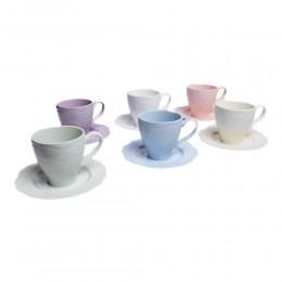 Kolorowy zestaw filiżanek do kawy i herbaty na 6 osób KORONKA
