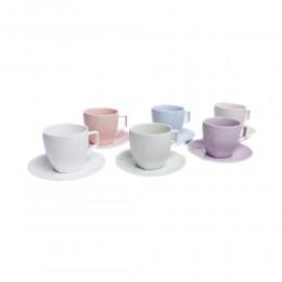 Kolorowy zestaw filiżanek do kawy i herbaty na 6 osób KRATKA