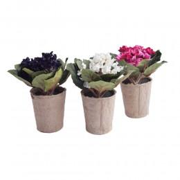 Sztuczne kwiaty fiołki w doniczce FIOŁEK AFRYKAŃSKI Saintpaulia