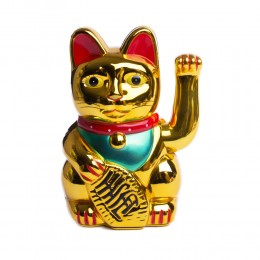 MANEKI NEKO KOT SZCZĘŚCIA ZŁOTY figurka japoński kot machający łapką