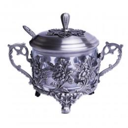 CUKIERNICA z łyżeczką srebrna metalowa PLATEROWANA motyw kwiatowy