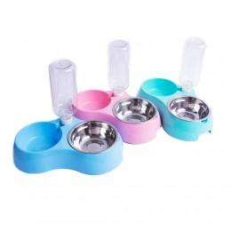 Podwójna miska dla psa kota + poidełko butelka dozownik wody 500 ml