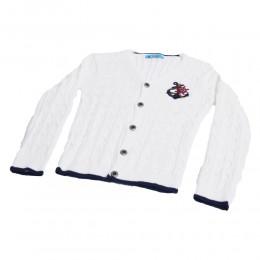 Sweterek dla chłopca MARYNARSKI zapinany na guziki biały 3+