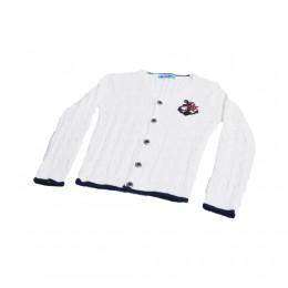 Sweterek dla chłopca MARYNARSKI zapinany na guziki biały 2+