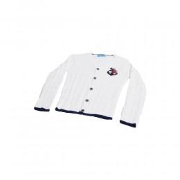 Biały sweter sweterek do chrztu dla chłopca rozpinany MARYNARSKI