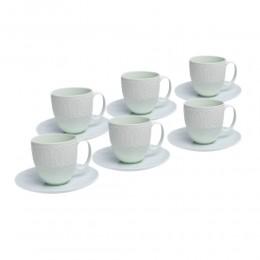 Seledynowy komplet zestaw filiżanek do kawy herbaty dla 6 osób