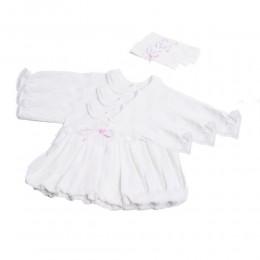 Sukienki dla niemowląt ecru sukieneczka sukienka do chrztu + opaska