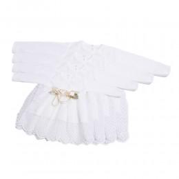 Sukienki dla niemowląt biała sukieneczka sukienka do chrztu RÓŻYCZKI