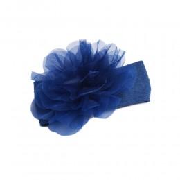 Niebieska opaska na głowę dla niemowlaka z dużym kwiatem