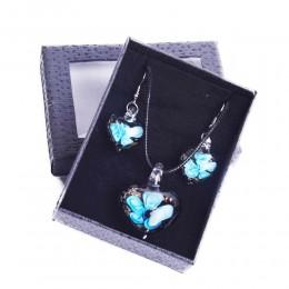 Komplet biżuterii kolczyki naszyjnik szkło weneckie NIEBIESKIE KWIATY