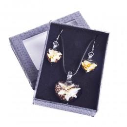 Komplet biżuterii kolczyki naszyjnik szkło weneckie ŻÓŁTE KWIATY