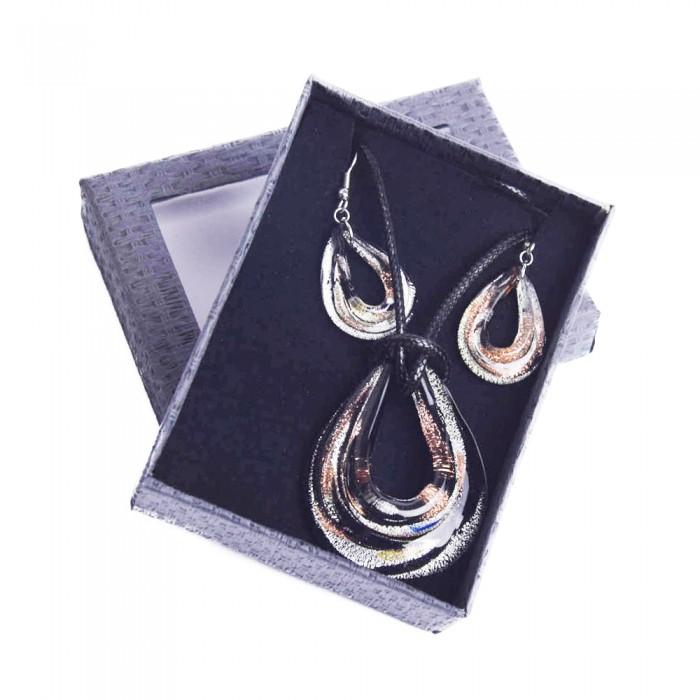 SZKŁO WENECKIE zestaw komplet biżuterii naszyjnik kolczyki + pudełko