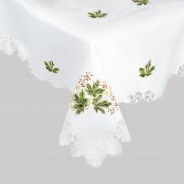 Duży biały obrus z gipiurą i haftem na stół LIŚCIE 150x220 cm