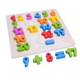 Cyfry cyferki drewniana tablica edukacyjna do nauki liczenia dla dzieci