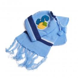 Czapka i szalik zimowy komplet niemowlęcy niebieski