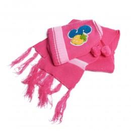 Czapka i szalik ZIMOWY komplet niemowlęcy różowy