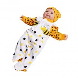 Pajac śpiochy pajacyk niemowlęcy z długim rękawem rozpinany PSZCZÓŁKA