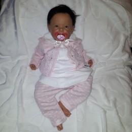 Bawełniany komplet niemowlęcy dla dziewczynki 3 częściowy RÓŻOWY