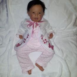 Sweterek niemowlęcy dla dziewczynki BIAŁY w KWIATY MOTYLKI różowe