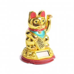 Mały japoński kot szczęścia bogactwa MANEKI NEKO złoty solarny