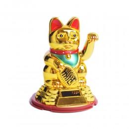 Japoński kot szczęścia bogactwa MANEKI NEKO złoty solarny