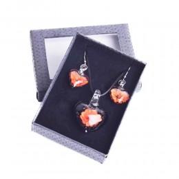 Komplet biżuterii kolczyki i naszyjnik szkło weneckie KWIATY