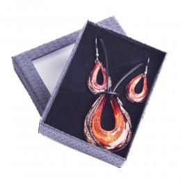 Komplet biżuterii kolczyki naszyjnik szkło weneckie ŁEZKA