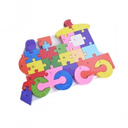Puzzle drewniane 3D klocki dwustronne literki cyferki LOKOMOTYWA