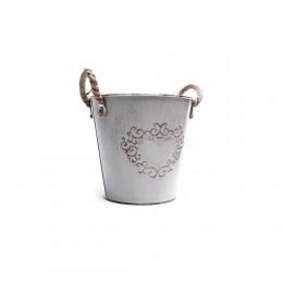 wiaderko z rączkami osłonka doniczka ozdobna metalowa na kwiaty