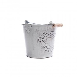Wiaderko z rączka osłonka doniczka ozdobna metalowa 13x12 cm