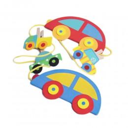 Kolorowa zawieszka drewniana na sznurku do pokoju dziecięcego AUTO