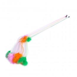 Kolorowa wędka z piórkami na sprężynce zabawka dla kota 70 cm