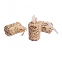 Eko zabawka dla kota WAŁEK z trawy i ratanu z piłeczką 6x4,5 cm