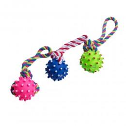 Zabawka dla psa szarpak piłka na sznurku do aportowania 25 cm