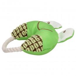 Piszcąca żabka ze sznurkiem dla psa