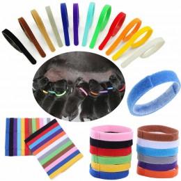 Kolorowe obróżki opaski znaczniki dla szczeniąt szczeniaków na rzep 29 cm