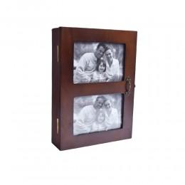 Drewniana skrzynka szafka pudełko na klucze i zdjęcia foto