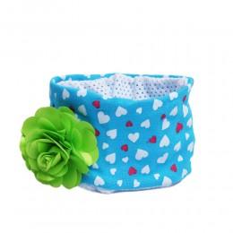 Niebieska opaska na głowę dla niemowlaka z kwiatkiem 26cm