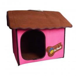 Różowy domek budka buda legowisko dla małego psa kota z filcu